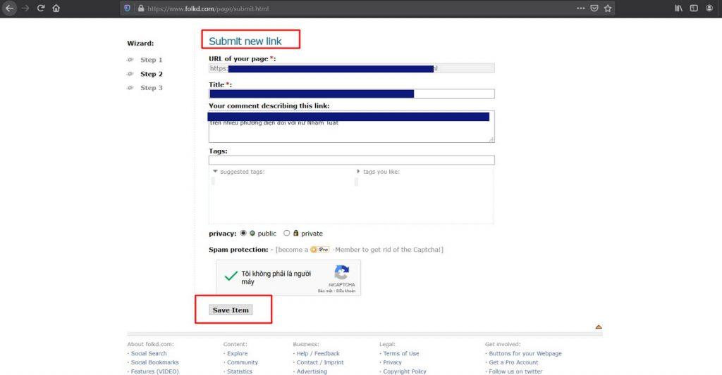 Index backlink bằng cách sử dụng Social Bookmark