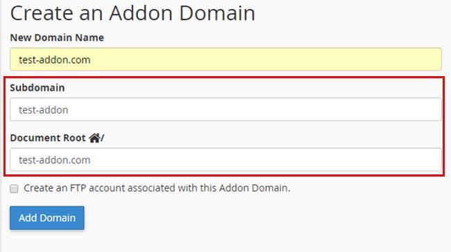 Cách tạo addon domain trong hosting cPanel
