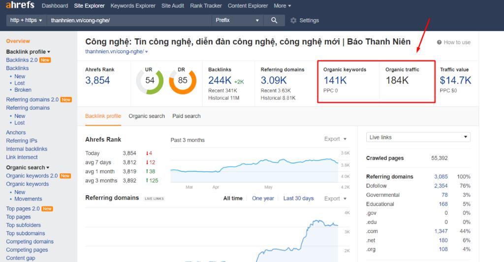 Chọn site có Organic Traffic và Organic Keyword >=2.000