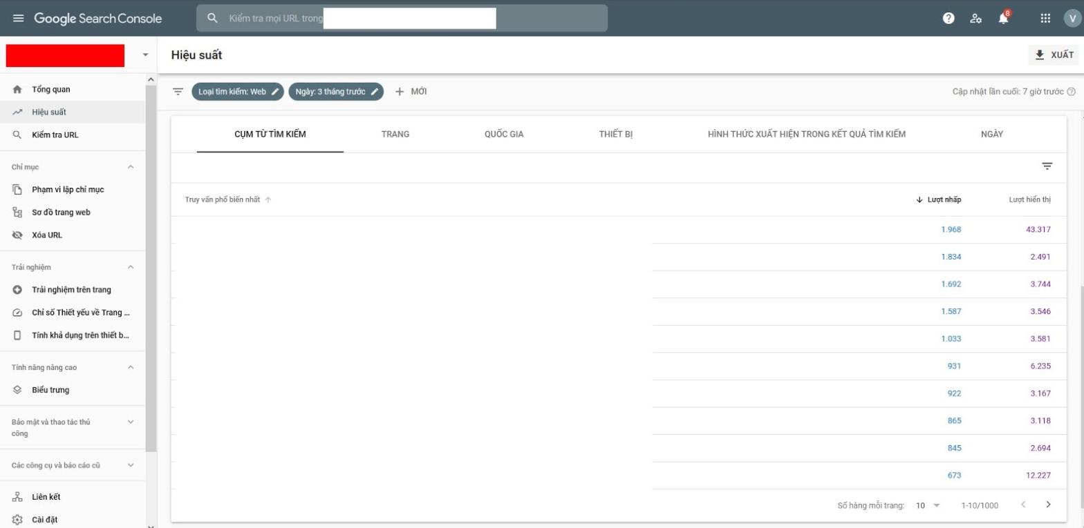 Search Console - Công cụ kiểm tra thứ hạng từ khoá miễn phí từ Google