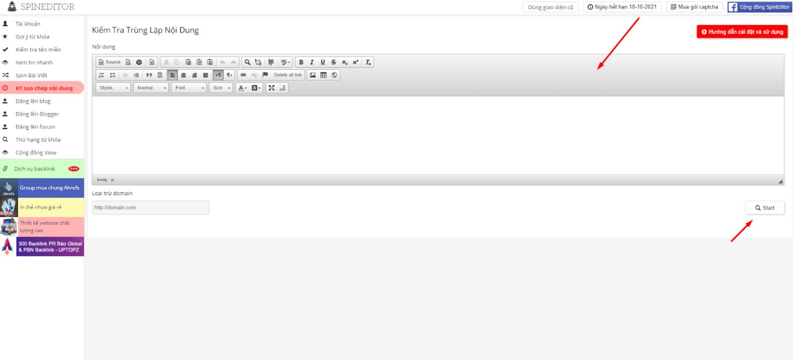 Spineditor - Công cụ kiểm tra trùng lặp nội dung online