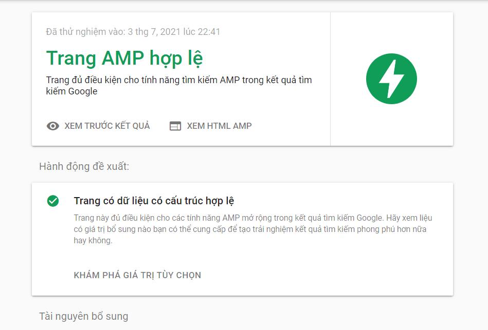 Cách kiểm tra AMP đã hoạt động hay chưa