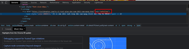 Kiểm tra HTML trong source code tìm link Do, link No