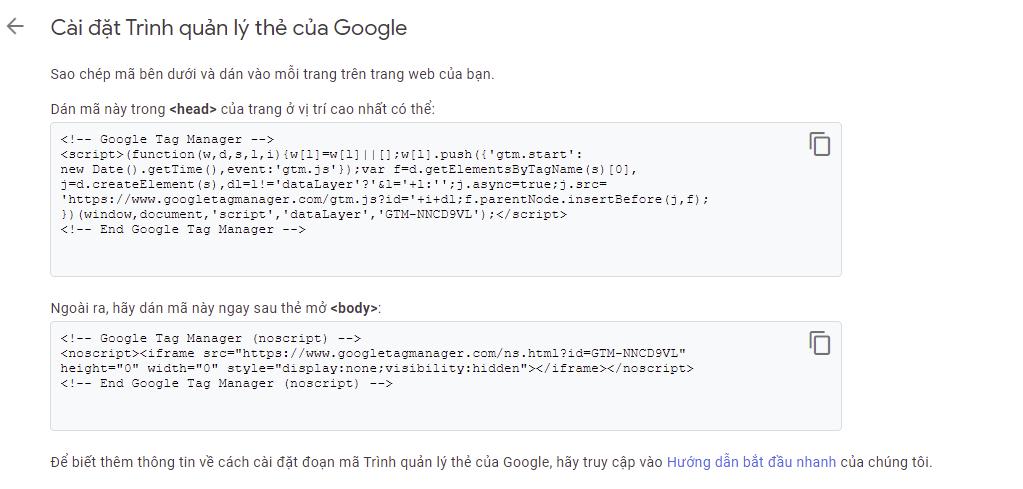Lấy mã gắn lên website