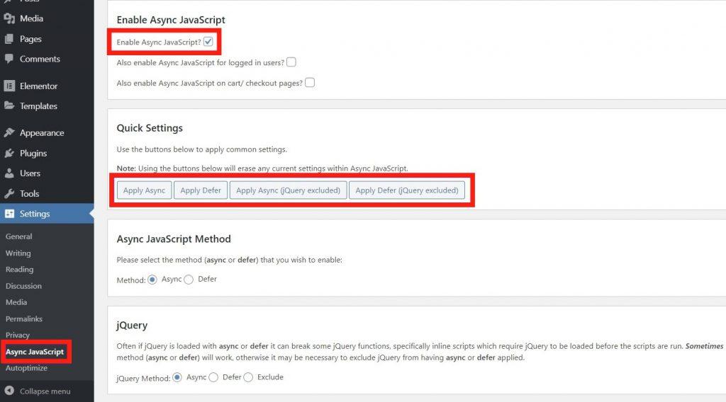Loại bỏ tài nguyên chặn hiển thị với Autoptimize + Async