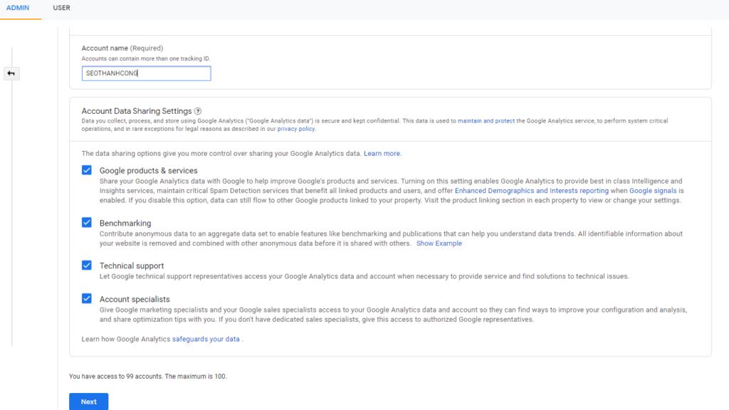 Cách tạo tài khoản Google Analytics