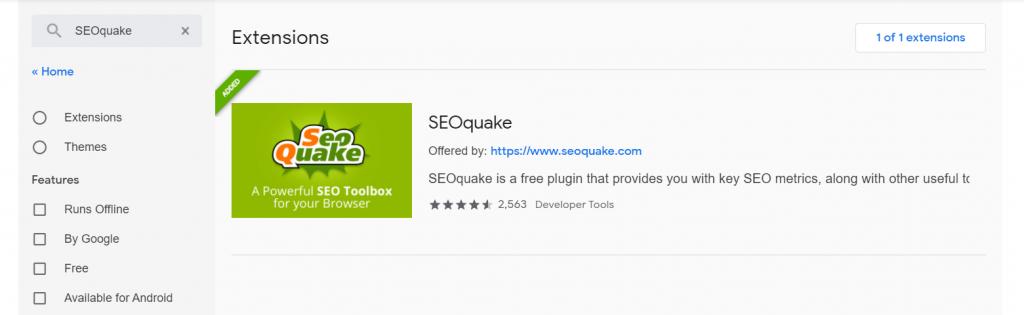"Tìm kiếm ""SEOquake"" ở Search the store"