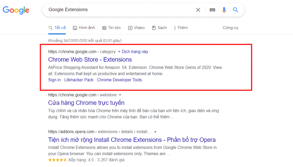 """Tìm kiếm """"Google Extensions bằng trình duyệt Chrome"""